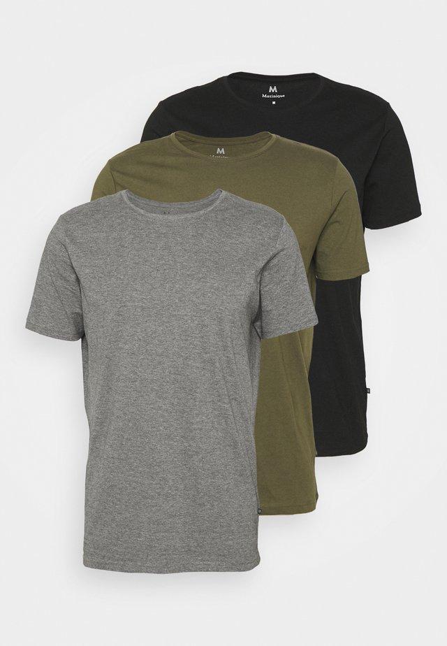 JERMANE 3 PACK - Jednoduché triko - black/grey/olive