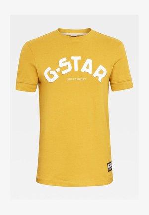 FELT APPLIQUE LOGO SLIM ROUND SHORT SLEEVE - Camiseta estampada - light yellow
