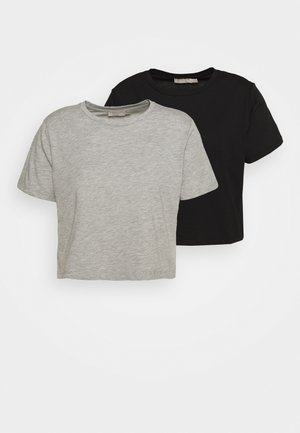 PCRINA CROP PETIT 2 PACK - Basic T-shirt - black/mottled light grey