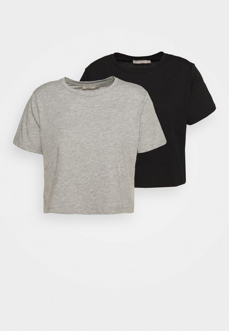 Pieces Petite - PCRINA CROP PETIT 2 PACK - Basic T-shirt - black/mottled light grey