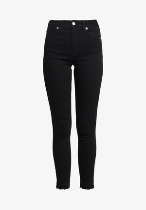 HIGH WAIST OPEN HEM - Jeans Skinny Fit - black