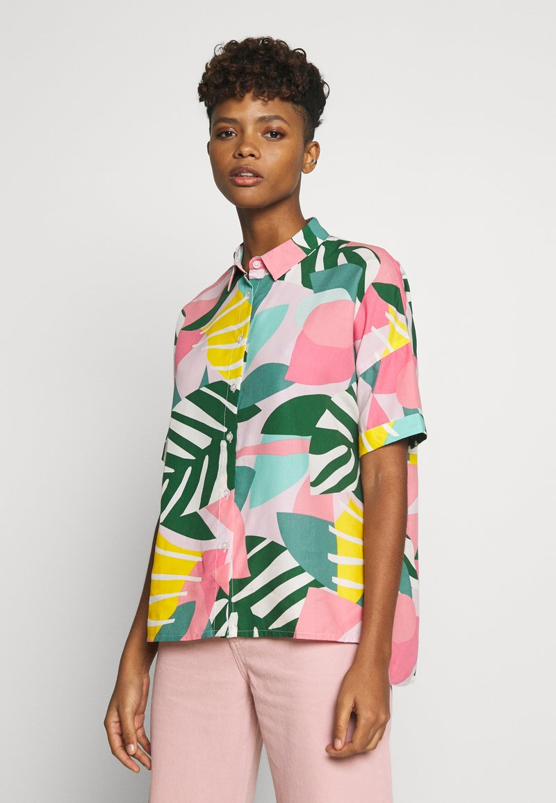 Dedicated - NIBE COLLAGE LEAVES - Button-down blouse - pink