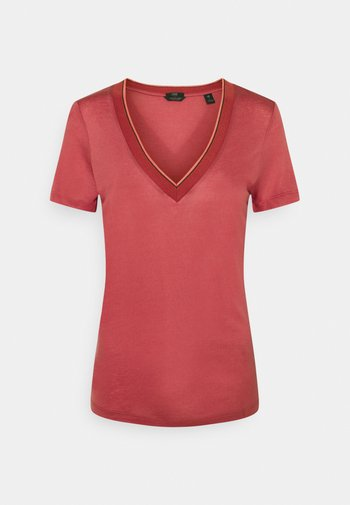 V NECK SHORT SLEEVE TEE WITH STRIPED DETAIL - Jednoduché triko - pink smoothie