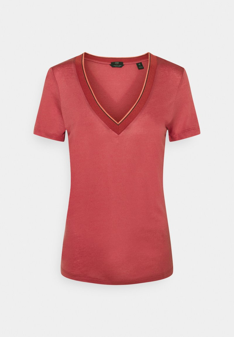 Scotch & Soda - V NECK SHORT SLEEVE TEE WITH STRIPED DETAIL - Basic T-shirt - pink smoothie