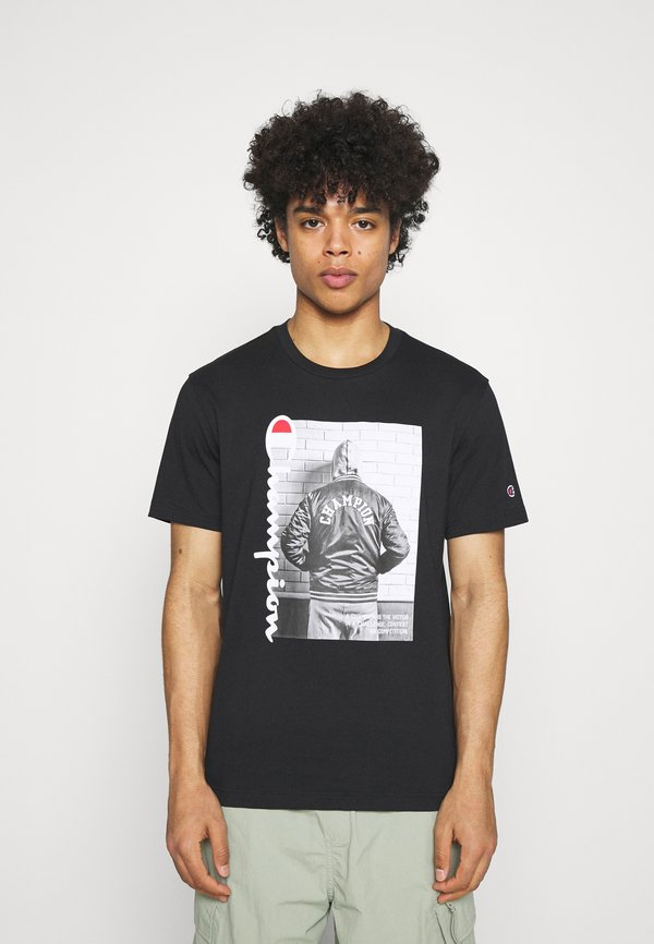 Champion Rochester CREWNECK - T-shirt z nadrukiem - black/czarny Odzież Męska JMPK