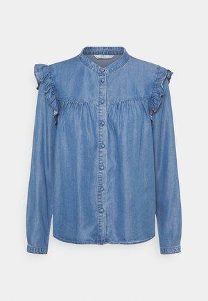ONLEARTH LIFE RUFFLE - Button-down blouse - medium blue denim