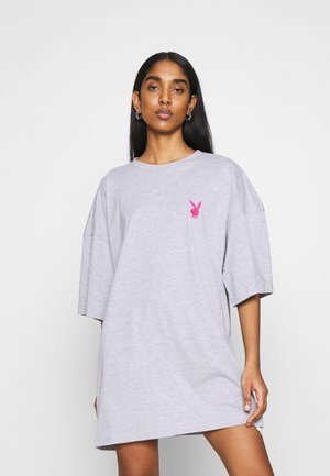 PLAYBOY MISSION STATEMENT OVERSIZED T SHIRT DRESS - Jerseykjole - grey