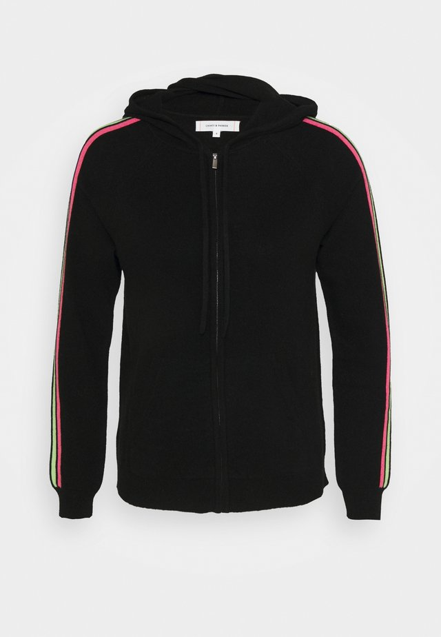 STRIPE SLEEVE HOODIE - veste en sweat zippée - black