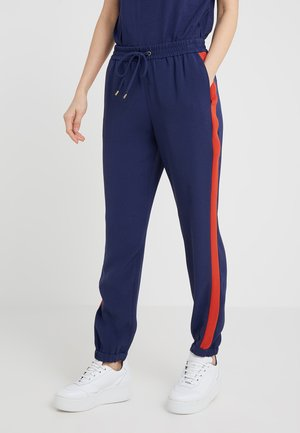 STRIPE TRACK PANT - Trousers - true navy/bright terra