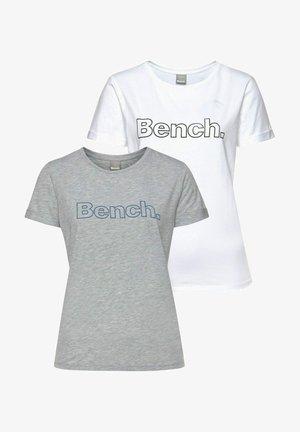 2 PACK - Print T-shirt - hellgrau-meliert+weiß