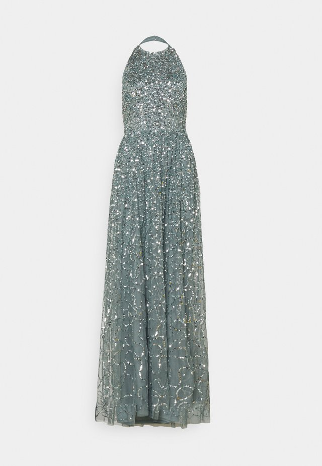 ALL OVER SEQUIN RACER MAXI DRESS - Abito da sera - teal haze