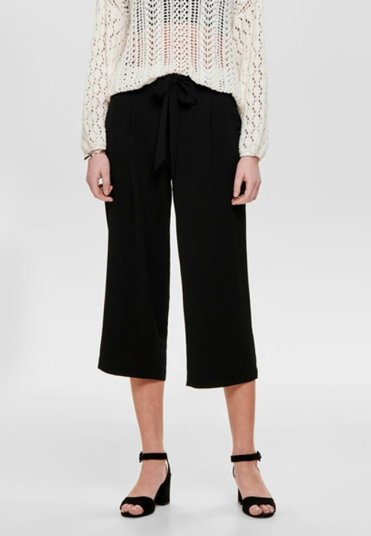 ONLY - ONLWINNER PALAZZO CULOTTE PANT - Trousers - black