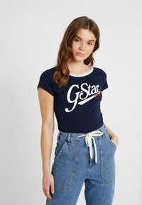 G-Star - GRAPHIC LOGO SLIM - Camiseta estampada - sartho blue - 0