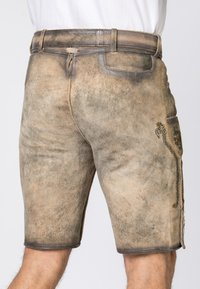 Stockerpoint - WIGGAL - Leather trousers - sand larded/green - 4