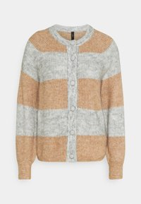 YAS - YASALLU STRIPE CARDIGAN - Cardigan - light grey melange/tawny brown - 3