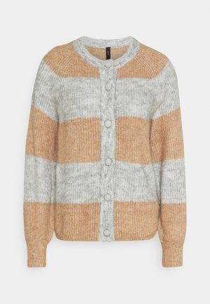 YASALLU STRIPE CARDIGAN - Strikjakke /Cardigans - light grey melange/tawny brown