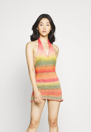 HALTER DRESS WITH BABYLOCK EDGE OMBRE - Jumper dress - pink/yellow/green