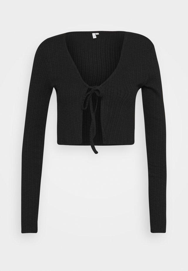 TIE FRONT - Långärmad tröja - black