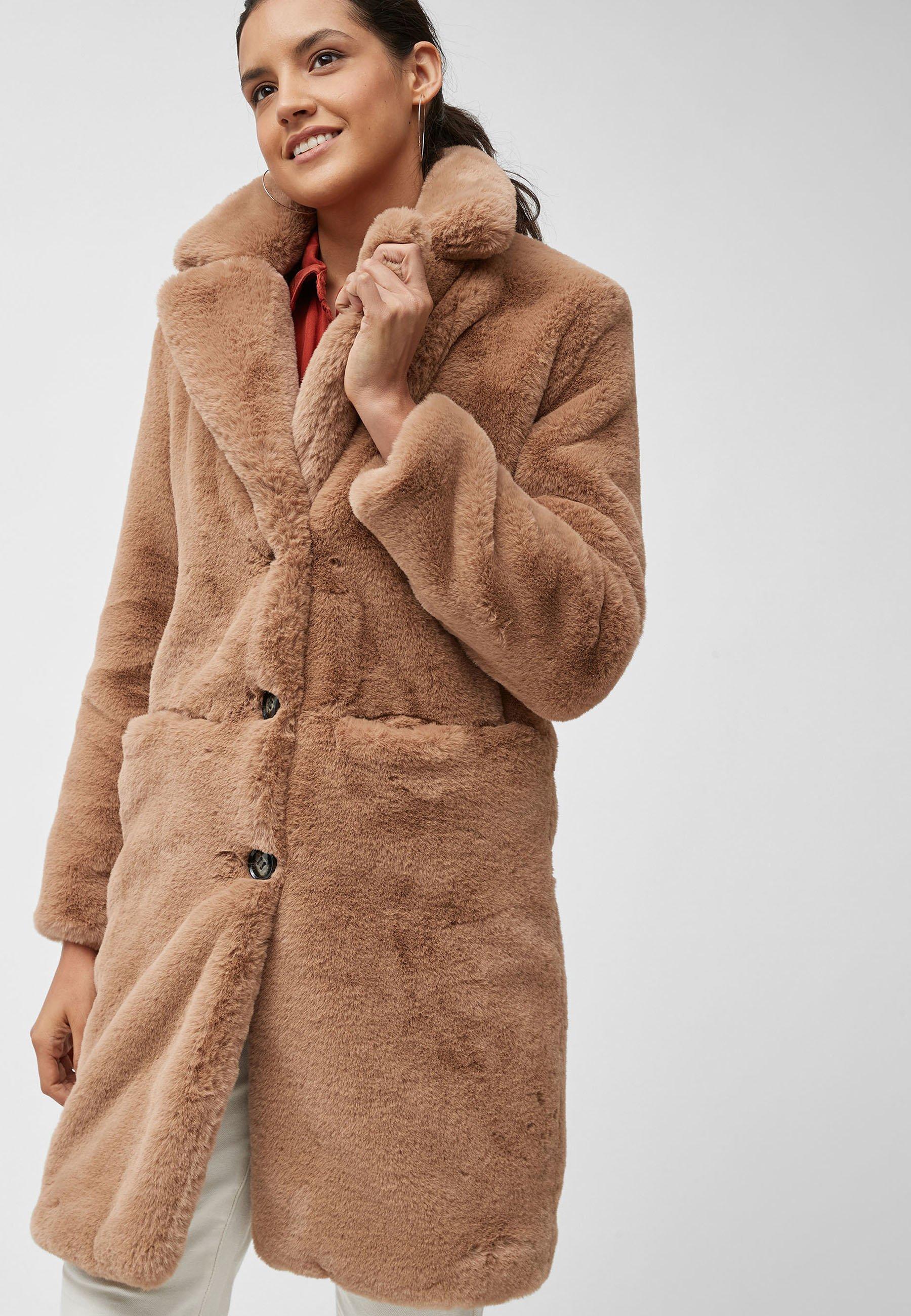 Donna CAMEL FAUX FUR COAT - Cappotto invernale