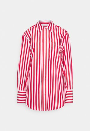 OVERSIZED SHIRT - Button-down blouse - red/white