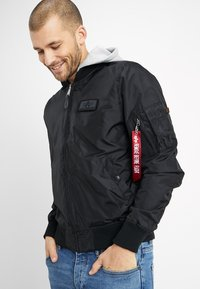 Alpha Industries - HOOD - Bomber bunda - black - 0