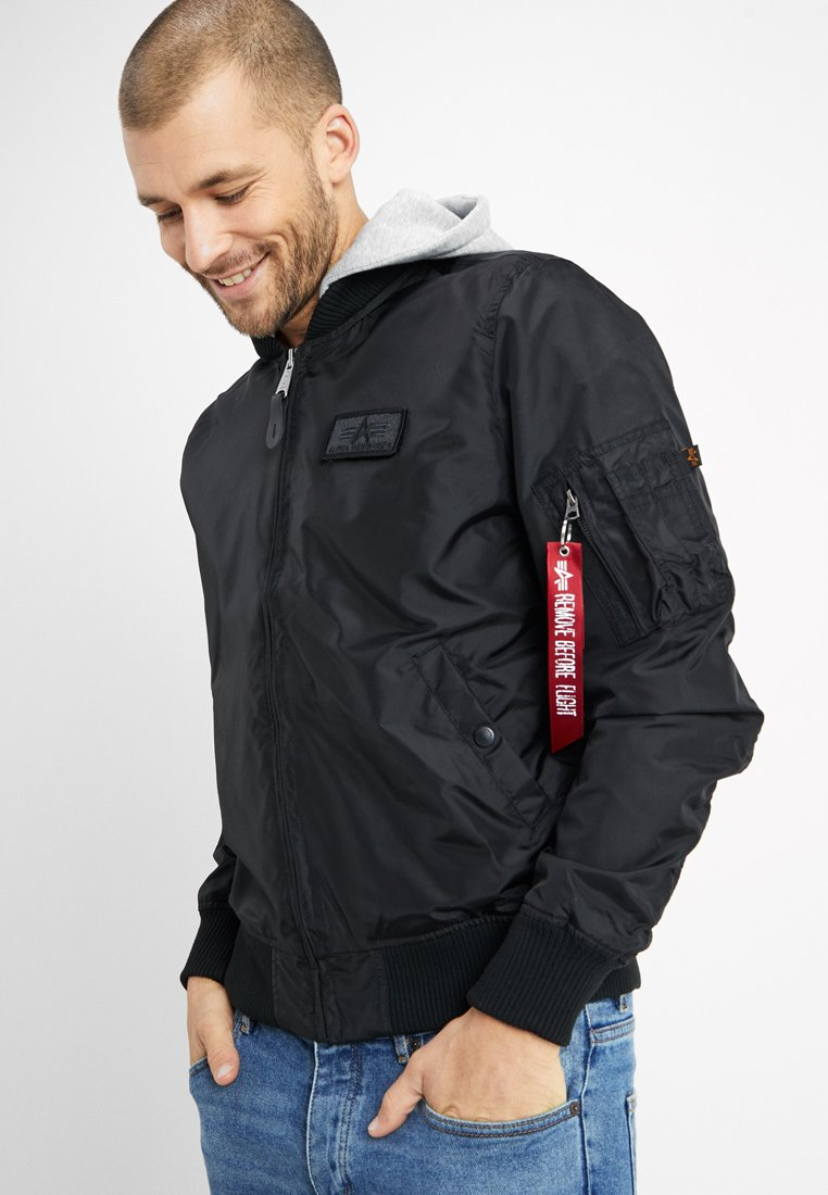 Alpha Industries - HOOD - Bomber bunda - black