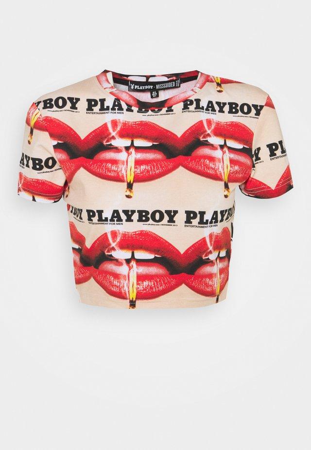 PLAYBOY LIPS CROP TEE - T-shirt print - multi