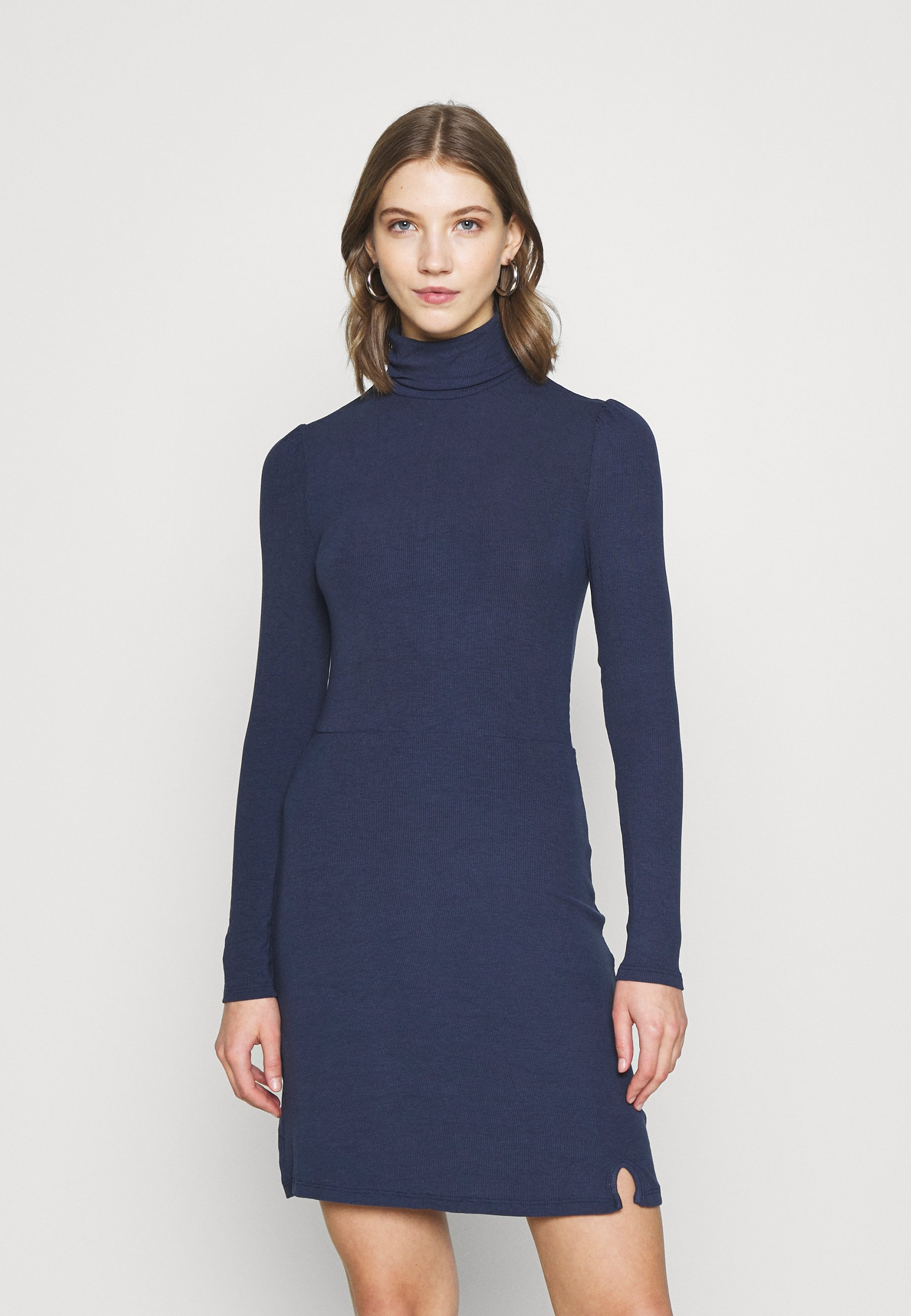 Women MINI DRESS WITH LONG SLEEVES AND ROLL-NECK - Day dress