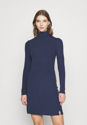 MINI DRESS WITH LONG SLEEVES AND ROLL-NECK - Robe d'été - navy