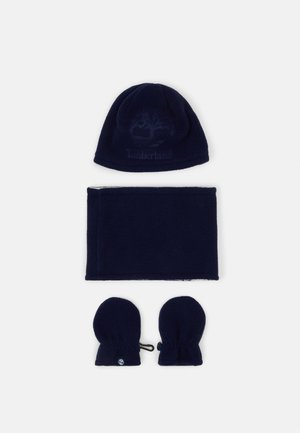 PULL ON HAT SNOOD MITTENS BABY SET UNISEX - Čepice - navy