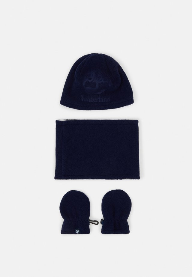 PULL ON HAT SNOOD MITTENS BABY SET UNISEX - Muts - navy