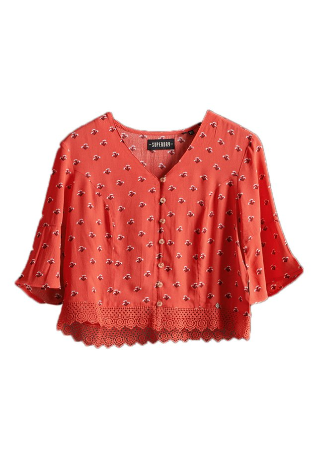 Blouse - red ditsy