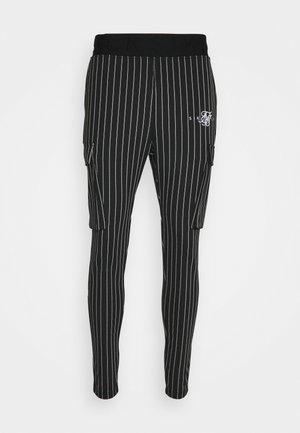 DUAL STRIPE CARGO PANT - Cargo trousers - black/white