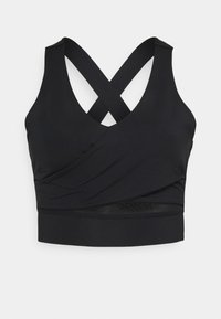 South Beach - WRAP CROP - Light support sports bra - black - 0