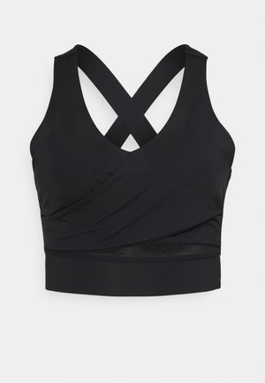 WRAP CROP - Sport-bh met light support - black