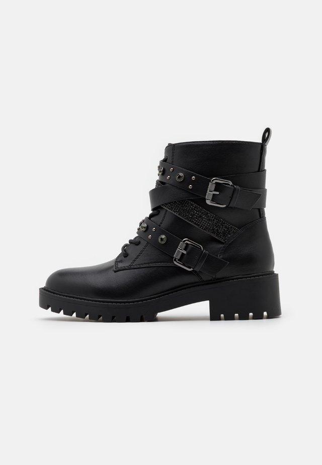 ALEXIA STRAP BOOT - Cowboy/biker ankle boot - black