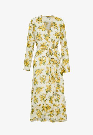 RUFFLE HEM WRAP MIDI TEA DRESS FLORAL - Denní šaty - white