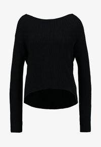 BASIC- BACK DETAIL JUMPER - Stickad tröja - black