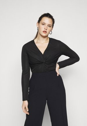 LONG SLEEVE BODYSUIT WITH KNOT DETAIL - Long sleeved top - black metallic