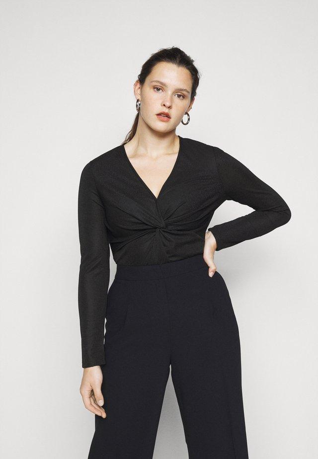LONG SLEEVE BODYSUIT WITH KNOT DETAIL - Long sleeved top - black metallic