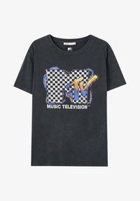 PULL&BEAR - T-shirt med print - mottled dark grey - 4