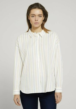 Button-down blouse - small creme blue yellow stripe