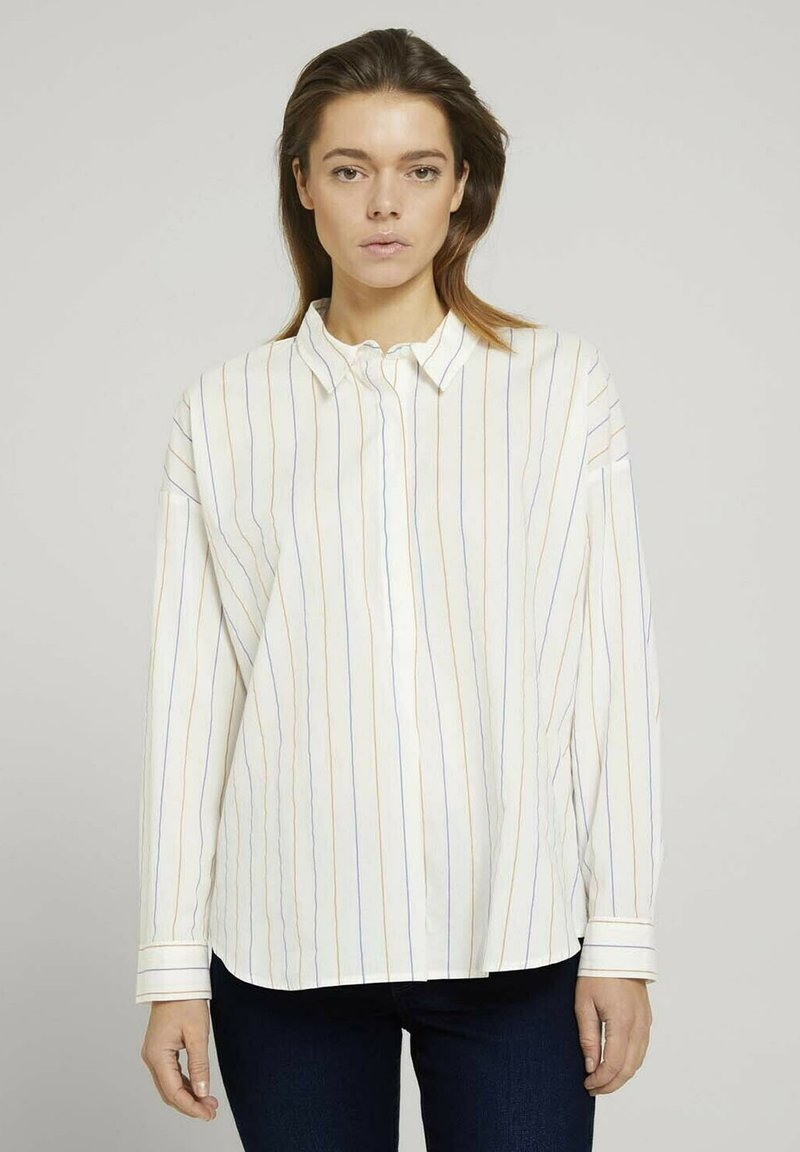 TOM TAILOR DENIM - Overhemdblouse - small creme blue yellow stripe