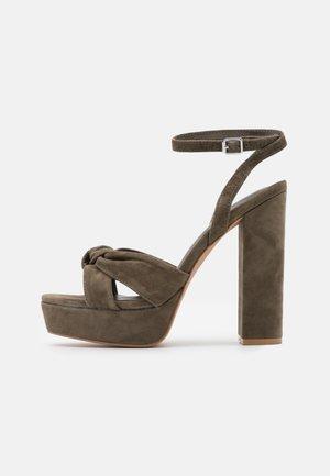 LEATHER - High heeled sandals - khaki