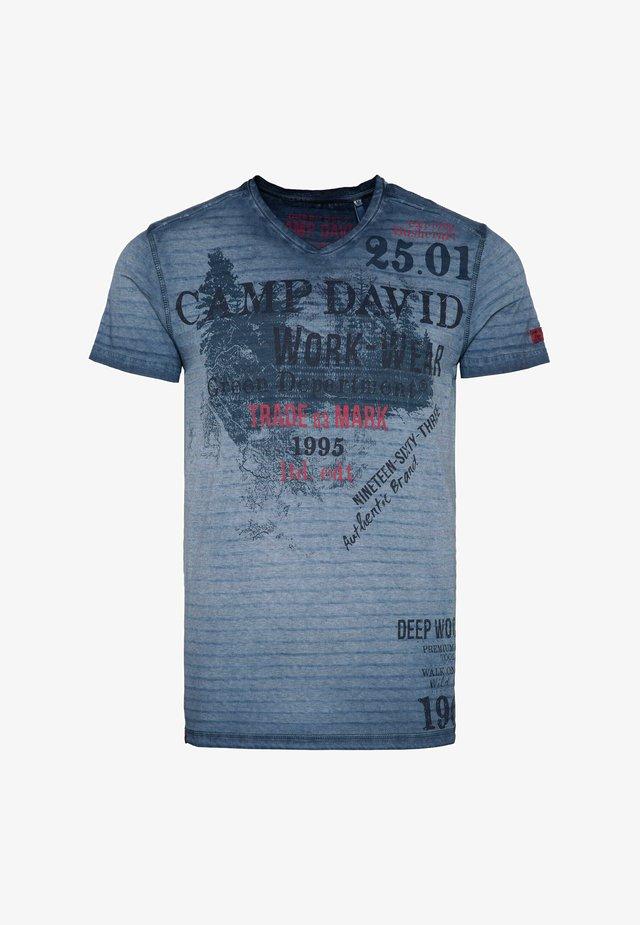 Print T-shirt - blue grey