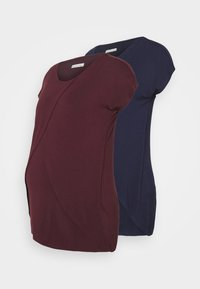 Anna Field MAMA - NURSING 2 PACK - T-shirts med print - dark blue/bordeaux - 0