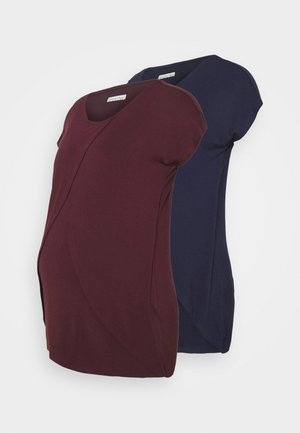 NURSING 2 PACK - Print T-shirt - dark blue/bordeaux