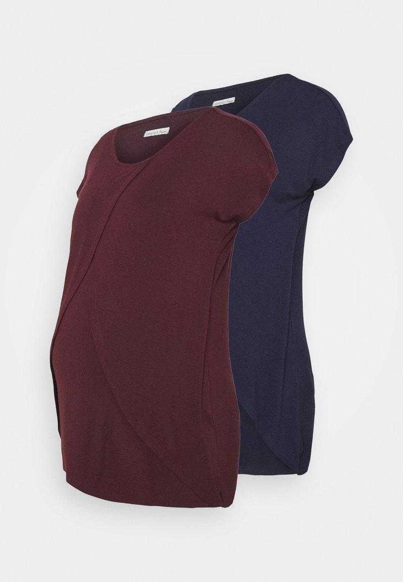 Anna Field MAMA - NURSING 2 PACK - T-shirts med print - dark blue/bordeaux