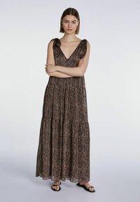 SET - Maxi dress - dark brown camel - 3