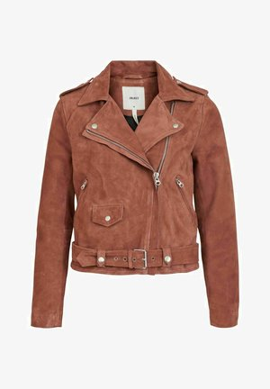 SEASONAL - Faux leather jacket - cognac